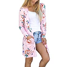 ECOWISH Womens Boho Irregular Long Sleeve Wrap Kimono Cardigans Coat Tops Outwear
