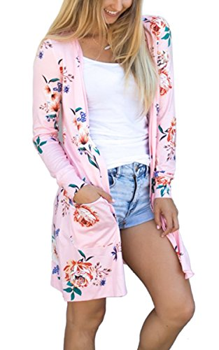 Coat Silk Floral (ECOWISH Womens Boho Irregular Long Sleeve Wrap Kimono Cardigans Casual Coverup Coat Tops Outwear Pink XL)