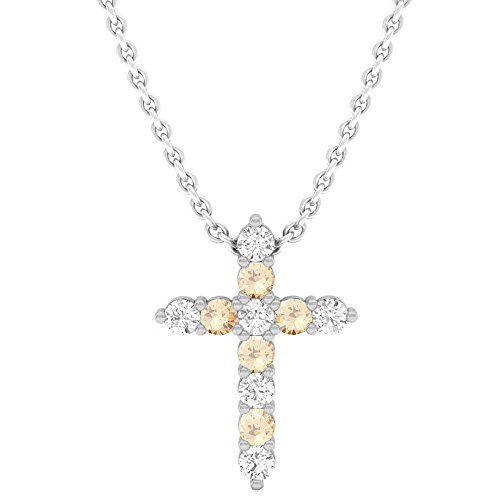 Dazzlingrock Collection 0.45 Carat (Ctw) 14K Round Champagne & White Diamond Ladies Cross Pendant 1/2 CT, White Gold