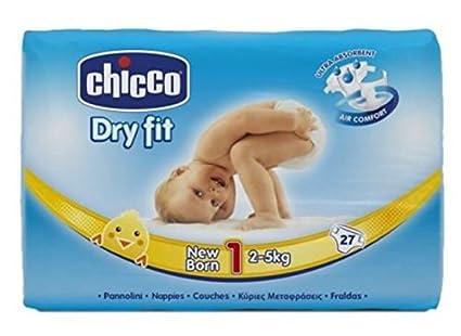Chicco - Pañales Chicco Dry Fit Recién Nacido T1 27 uds x 3: Amazon ...