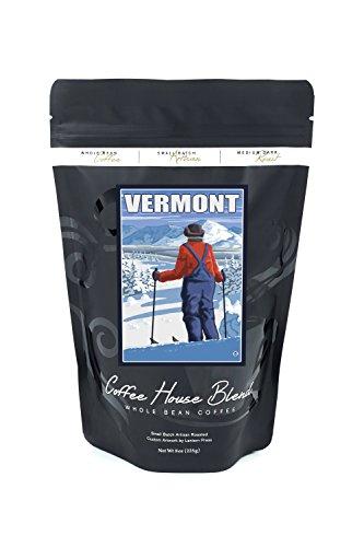 Vermont - Skier Admiring View (8oz Whole Bean Small Batch Artisan Coffee - Bold & Strong Medium Dark Roast w/ Artwork) -  Lantern Press, LANT-19582-8CF