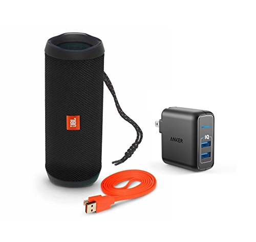 Foldable Portable Travel Speakers - JBL Flip 4 Portable Bluetooth Wireless Speaker Bundle with Dual Port 24W USB Travel Wall Charger - Black