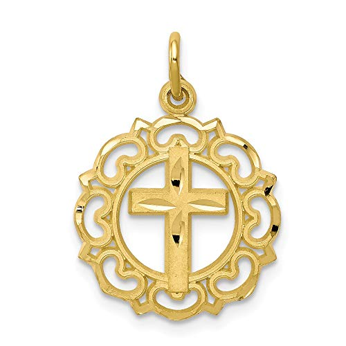 - 10k Yellow Gold Cross Religious In Frame Pendant Charm Necklace Latin Fine Jewelry Gifts For Women For Her