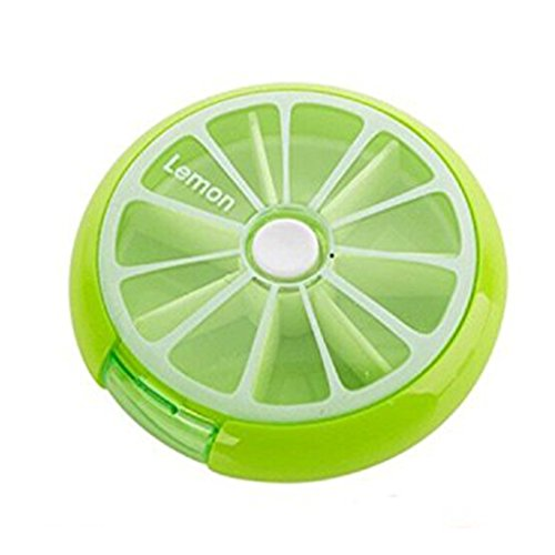 durable service LazyMe Weekly Small Purse Pill Box 7 Day Cute Round Pill Organizer 1 Time a Day (Light Green)