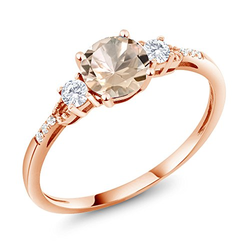 Gem Stone King 10K Rose Gold Peach Morganite and White Created Sapphire Women's Engagement Ring 0.74 Ctw Round Available in (Size 6)