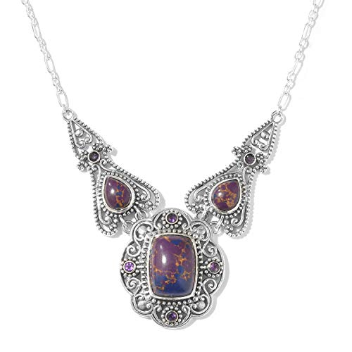 (925 Sterling Silver Cushion Purple Turquoise Necklace for Women 18