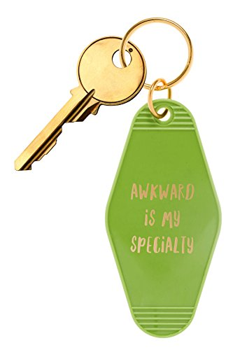 "Inspired Key Fob (Bops Retro Motel/Hotel Style Keychain ""Awkward Is My Specialty"" Vintage Inspired Keychain + Inspirational Quote)"