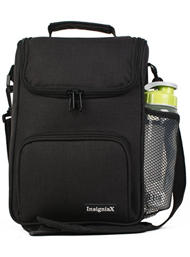 InsigniaX Crossbody Lunch Bag Cool Back to School Lunch Box/Cooler/for Adult Women Men Work Girls Boys with Shoulder Strap Water Bottle Holder H: 11.8