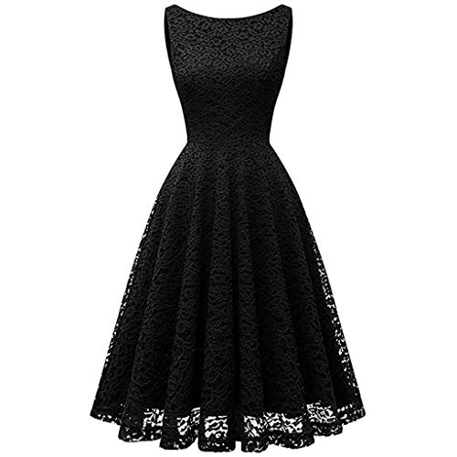 (Sagton Womens 1950s Vintage Scallop Puffy Knee Length Swing Stretchy Dresses Black)