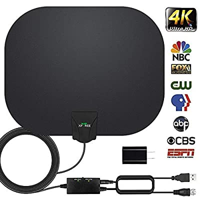 HDTV Antenna, Indoor Digital HDTV Antenna 130 Miles Range with 2019 Newest Amplifier Signal Booster USB Power Supply for 4K HD VHF UHF Free Local Channels Support All TV's-17ft Coax Cable