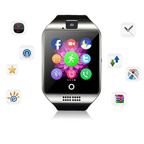 WFS Multifunctional Smart Watch Wrist Watch Phone with Bluetooth Andrews Phone SIM Card Android Smartphones Touch-screen mode (silver)