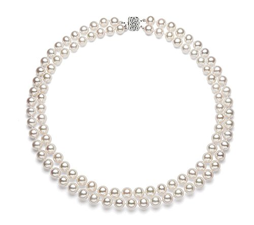 (Sterling Silver Double Strand White Freshwater Cultured Pearl Necklace AA+ Quality, 18