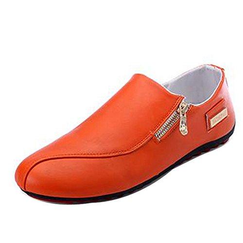 Men Casual Leather Boat Shoes Docksides Deck Spinnaker Top-Side Lace Up Moccasin Orange