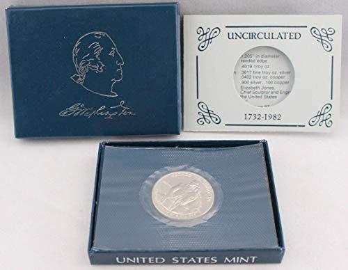 (1982 D George Washington Half Dollar In Box With COA .50 Uncirculated US Mint)