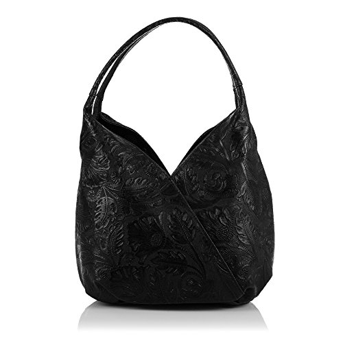 Italy Pelle Firenze Bag Shoulder 18 Colour Women Engraved Women Boho Genuine Italian Tote Vera nbsp;x Made In Floral Leather Artegiani nbsp;cm 33 Black ZZn5rq8O