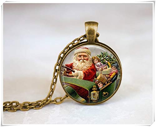 we are Forever family Santa Clause Holiday Jewelry Necklace, Christmas Jewelry Necklace, Holy Night Spirit Necklace, Xmas Necklace, Santa's Sleigh