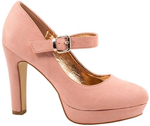 Decolletè E Elara Comode Color Rosa A Tacchi Chunkyrayan Spillo Alti Cinturino Con Paris Beige Pump Swq8dU