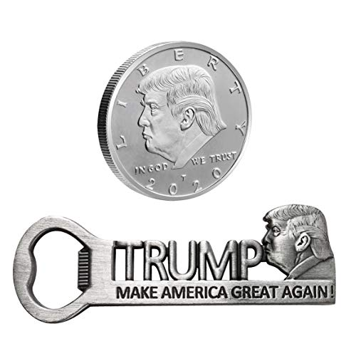 Donald Trump Supporter Gifts Make America Great Again Magnetic Bottle Opener and Silver Plated Collectible Challenge Coin 2020, Super Gifts for Republican Conservative