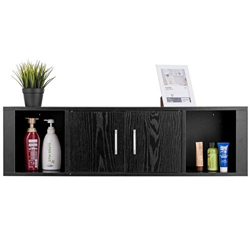 WATERJOY Wall Mounted Hanging Floating Desk Hutch Storage Cabinet Shelves Media Storage Display Hutch, Home Office Furniture, Black ()
