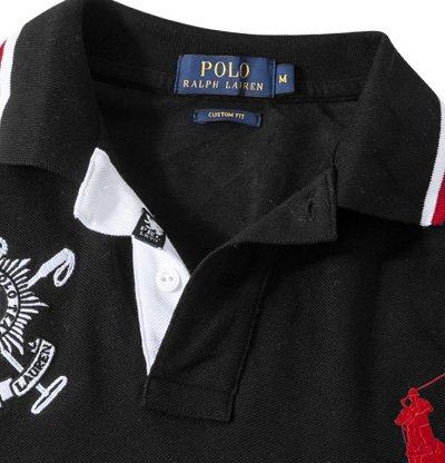 Polo Ralph Lauren Herren Polo-Shirt Baumwolle T-Shirt Unifarben mit Motiv, Größe: M, Farbe: Schwarz