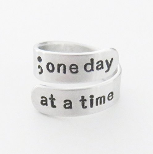 Semicolon ring one day at a time inspirational recovery gift suicide awareness semicolon jewelry