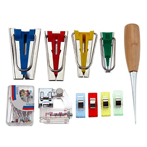Sala-Fnt - Fabric Bias Tape Makers Binding Machine Snap Foot Tool Sewing Quilting Hemming Hand Tool Set for Patchwork
