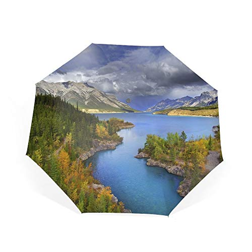 Golf Windproof Umbrella Landscape Mountain Lake Forest Tree Canada Double Layer Design, Sturdy UV Protection Waterproof Umbrella (Double Canada Strollers)