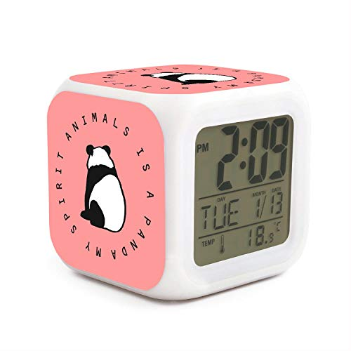 JWOJJUAW Wake Up My Spirit Animals is a Panda Dimmer Snooze LED Nightlight Bedroom Desk Travel Digital Cool Alarm Clock for Kids Girls]()