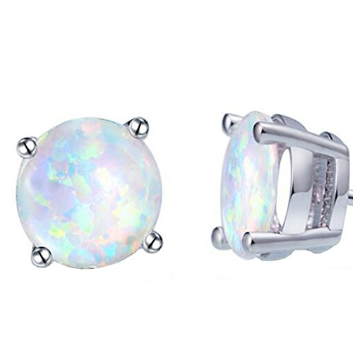 18K White Gold Plated Small Round Opal Stud Earrings For women stud earrings girl (Earrings Gold Plated Earrings)
