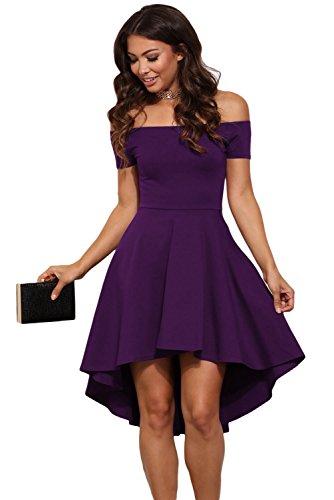 Nuevo señoras morado off Hombro Skater vestido de fiesta desgaste club wear vestido de trabajo tamaño M UK 10–�?2EU 38–�?0