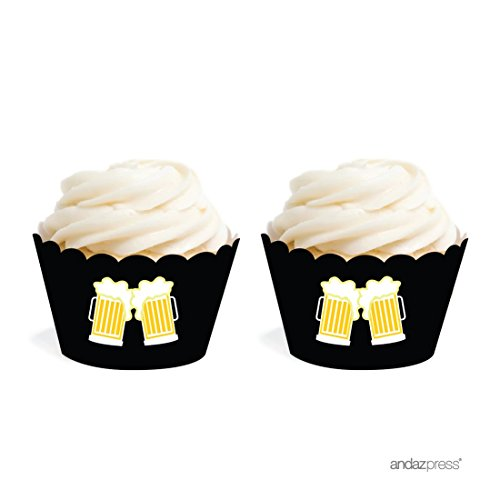 Price comparison product image Andaz Press Birthday Cupcake Wrappers,  Beer Mugs Cheers!,  20-Pack,  Decor Decorations Wraps Cupcake Muffin Paper Holders