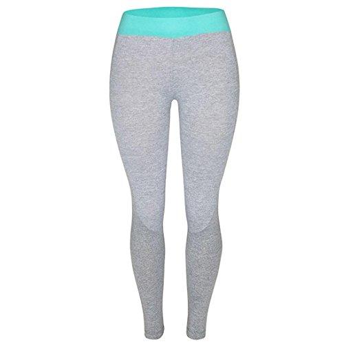 Ecurson Women Sports Gym Yoga Workout High Waist Running Pants Fitness Elastic Leggings (M, Blue)