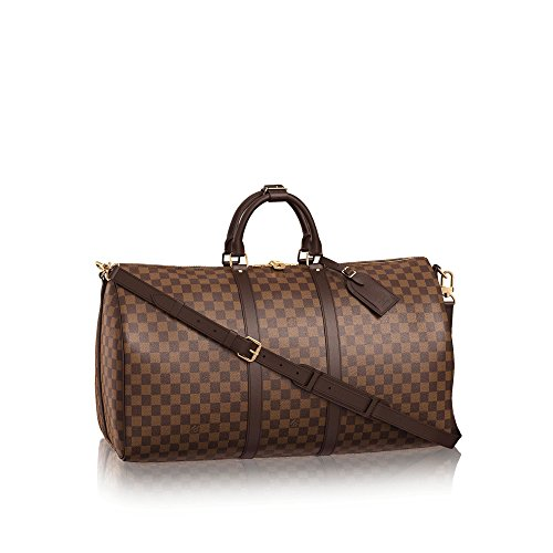 (Keepall Bandouliere Style Damier 55 cm Canvas Crossbody Bag with Removable Strap)