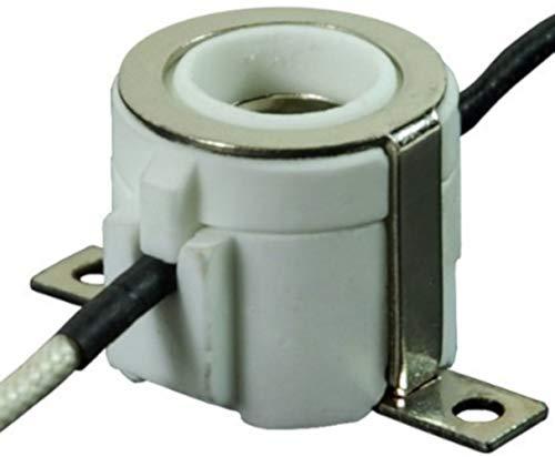 (3 Pack E11 Mini-Candelabra Screw Ceramic Lampholder Socket,E11 mini Porcelain Candelabra Base Socket with 12 inch Lead Wires E11 Socket (3))