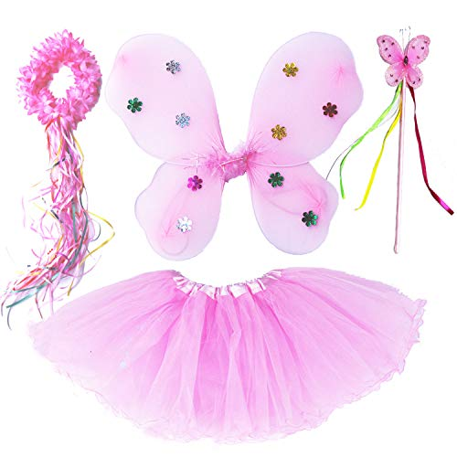 Dreamdanceworks Fairy Butterfly Wing Wand Headband Tutu Skirt Party Costume for Girls Dess Up (Neon Pink)