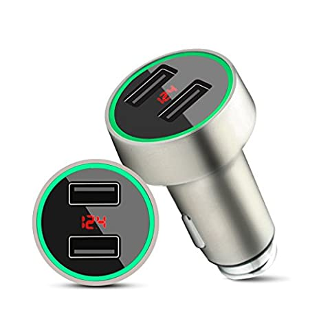 Car Charger Adapter,C7,Dual USB 3.6A/18W LED Car Battery Voltmeter Charging Current Fast and Safe Charger for Smart Devices (C7 Outlet)