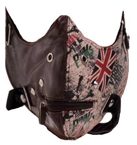 Adult Vinyl Half Cap Mask - UK Union Jack Flag Vinyl Half Face Riding Mask One Size Fits Most Brown