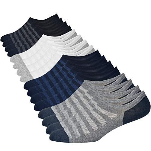 Jormatt 8 Pairs Men's No Show Socks Sneaker Shoes Mesh Knit Low Cut Socks Comfort Cotton Athletic Casual Non Slip Socks, Men Shoes size 6.5-10