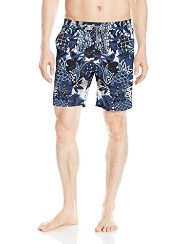 Onia Men's Charles 7 Inch Italian Print Swim Trunk, Blue Multi, - Italian Swimwear Men's