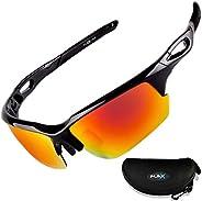 FLEX V2 Polarized Sports Sunglasses for Men & Women. Ultra Tough Lightweight Frame HD Lens for Cycling Dri