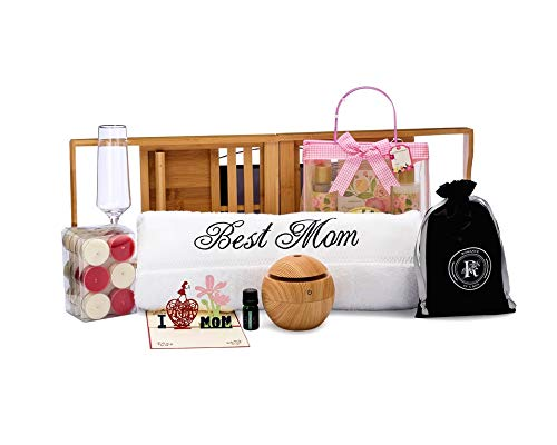 Spa Gift Box for Mom | Includes I Love MOM Card, Best Mom Bath Towel, Bamboo Bathtub Caddy and Spa Gift Basket