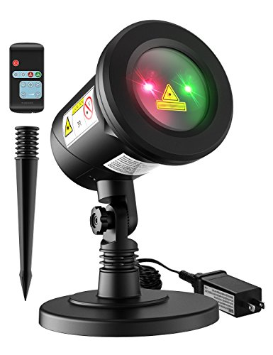 Homitt Christmas Laser Projector Light, 8 Patterns Waterproof Landscape Lamp Moving Rotating Spotlight with RF Remote Control for Halloween, Party, Bar, Wedding, Living Room and Garden Decoration