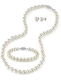 024118780 14K Gold 6.5-7mm AAA Quality Round White Akoya Cultured Pearl Necklace,  Bracelet &