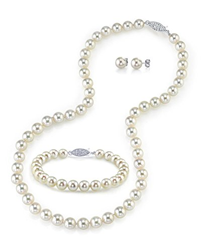 14K Gold 7.5-8.0mm White Akoya Cultured Pearl Necklace, Bracelet & Earrings Set, 17'' - AAA Quality by The Pearl Source