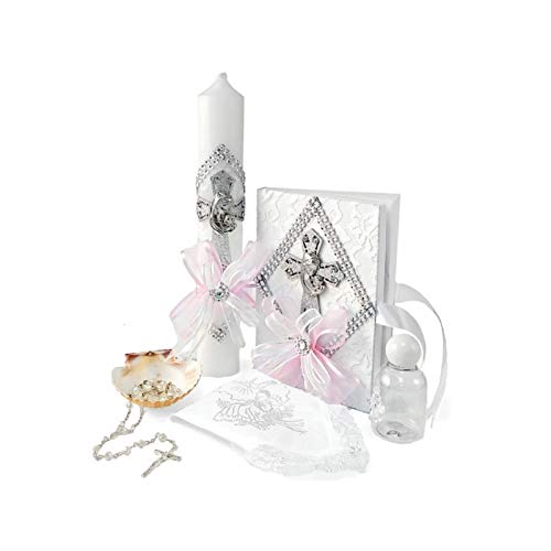 Spanish Handmade Christening/Baptism Set for Girl, Boy, or Unisex Virgen : Candle, Bible, Dry Cloth, Sea Shell, Rosary and Holy Water Bottle -Bautizo Religious Gift (Pink)
