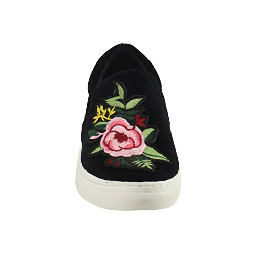 Flower Cuff Slip Padded On Pattern Fashion Women's IF12 Sneaker Soda Elastic Black 8TEIwqA