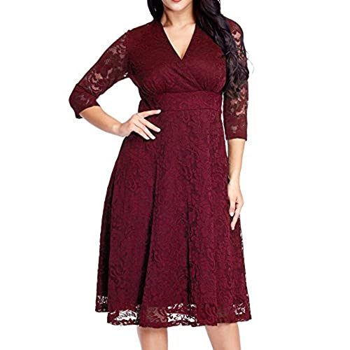 Red and black wedding dress amazon grapent womens lace plus size mother of the bride skater dress bridal wedding party maroon 18w junglespirit Gallery
