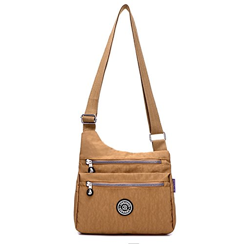Outreo Small Messenger Bag Women Cross Body Bag Waterproof Casual Shoulder Bag Lightweight Sport Travel Satchel for Ladies Beige