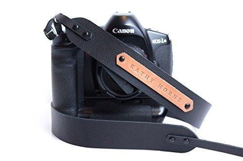 Personalized leather camera strap in black color DSLR camera strap for Canon Nikon Sony
