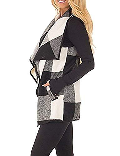 Womens Sleeveless Vest Plaid Draped Open Front Hem Cardigan Coat